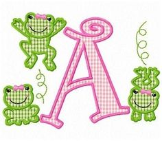 Girly Frog Letters Applique Set - 5x7 | What's New | Machine Embroidery Designs | SWAKembroidery.com Fun Stitch