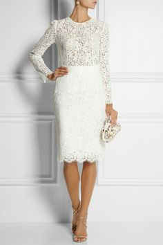 Dolce & Gabbana Cottonblend Lace Pencil Skirt in White - Lyst
