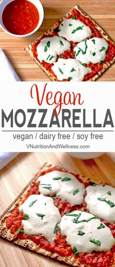 Vegan Mozzarella Cheese Alternative | This vegan mozzarella cheese alternative is a great way to have a tasty pizza without dairy! | vegan mozzarella, vegan cheese recipe, vegan pizza via @VNutritionist