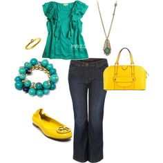 teal and yellow, created by wendy-savelle.polyvore.com