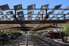 Photovoltaic solar panels and parking lot shading at the Springs Preserve, Las…