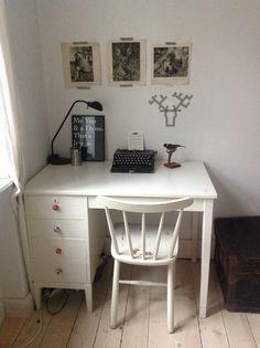 Our little desk. Danish apartment white work space taxidermy hygge desk copenhagen typewriter