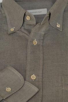 Ermenegildo Zegna $395 Gray Twill Weave Cotton Dress Shirt 15.5 x 35 #ErmenegildoZegna