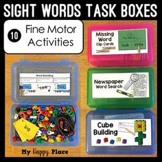 Perfect for morning work tubs, early finishers, or busy boxes these Sight Words Fine Motor Task Boxes allow students to have fun while strengthening their literacy and fine motor skills. This set includes ideas and materials for 10 sight words fine motor Classroom Supplies, New Classroom, Classroom Organization, Sight Word Games, Sight Words, Life Skills Class, Busy Boxes, Phonics Reading, Kindergarten Centers