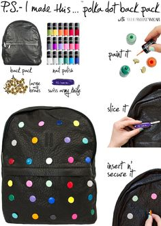 P.S.- I made this...Polka Dot Back Pack with #WhoWhatWear inspired by #TheRow x #Hirst_Official #DIY #PSIMADETHIS