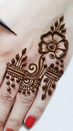 Henna Flower Designs, Mehndi Designs Front Hand, Modern Henna Designs, Latest Henna Designs, Finger Henna Designs, Basic Mehndi Designs, Mehndi Designs For Beginners, Mehndi Designs For Hands, Cone Designs For Hands