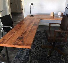 L-shaped Desk. Wood and steel desk. Old desk. Executive desk - Desk Wood - Ideas of Desk Wood - L-shaped Desk. Wood and steel desk. Reclaimed Wood Desk, Rustic Desk, Industrial Desk, Reclaimed Lumber, Rustic Industrial, Rustic Office, Industrial Furniture, Rustic Wood, Home Office Desks