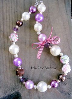 "Chunky Girls Necklace-""Shabby Chic""-Bubblegum Necklace-Pearl Necklace-Toddler Girl Necklace Chunky Beads-Bubblegum Beads."