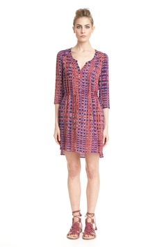 Tunic Dress - Comfortable and relaxed, this three-quarter-sleeve tunic dress is a perfect transitional piece.