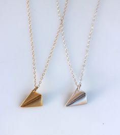 Origami Paper Plane Necklace, Aeroplane Pendant, Modern Minimalist Jewelry, Sterling Silver or 14K Gold Filled Chain,  Folded Airplane