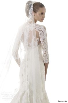 Pronovias 2015 pre bridal collection | blake illusion long sleeve bridal gown back view