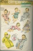 An original ca. 1970 Simplicity Pattern 8761.  Babies' Layette:  V. 1, 3 & 4 have lace edging trim. V. 5 & 8 have rick-rack trim. V. 1 dress gathered to yoke has back button closing, bias bound neckline and short puff sleeves. Matching bonnet has ribbon drawstring. The kimono V. 2 and sacque V. 3 & 4 with long kimono type sleeves fasten in front with tie ends. The panties V. 3 & 4 with elastic casings at waistline and leg edges fastens at crotch with snaps...