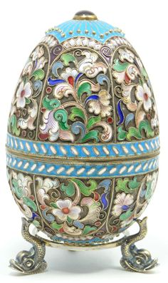 Fine Decorative Arts Finely Crafted Russian Silver Egg with Multicolor Cloisonne Enameled Design Throughout. Has Cabochon Ruby to Top and Bottom. Measures 3 Inches in Height + Inch Base height by Pato Garabato Tsar Nicolas Ii, Fabrege Eggs, Incredible Eggs, Egg Crafts, Egg Art, Russian Art, Egg Decorating, Oeuvre D'art, Jewelry Art