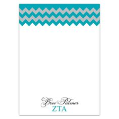 Zeta Tau Alpha Chevron Note Pad ZTA Stationery Note Pad Sorority Invitations Zeta Bid Day Gifts Presents Big Little Gifts DIY Crafts Personalized