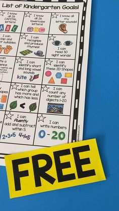 FREE Kindergarten goals chart - report cards - math and reading standards - Leader in Me