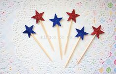 Glitter Cupcake Toppers  Dark Blue and Red  Star by pingosdoceu