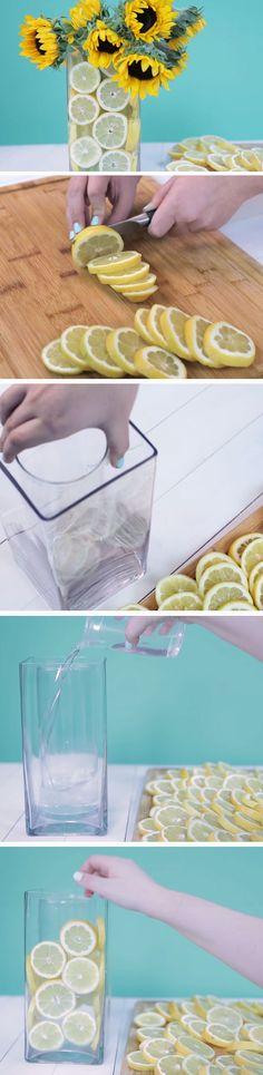 Lemon Vase   DIY Spring Table Decor Center Pieces   Easy Easter Centerpieces DIY Dollar Tree