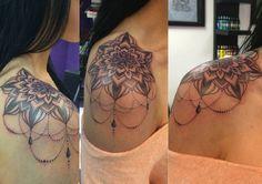 Mandala dotwork tattoo done by Natasha Papadakos
