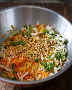 Chopped Thai Chicken Salad - Time Saver Use pre-shredded cole slaw and carrots. Add shredded lettuce, mango, diced tomatoes, matchstick cucumber, and peanuts. Poach chicken in lime juice, cilantro, red curry paste, peanut butter, and chicken stock. Shred.  Toss with Paul Neuman's Lite Thai Dressing. Crunchy, refreshing, awesome! K.