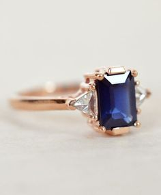 Blue Sapphire Bea Ring by Anna Sheffield