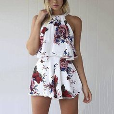 Sexy Women's Vest Sleeveless Print Two-piece Shorts – Fashion duukoog Summer Playsuit Romper Outfit Ideas For Teen Girls, Outfits For Teens, Trendy Outfits, Girly Outfits, College Outfits, Simple Outfits, Rompers For Teens, Cute Rompers, Rompers Women