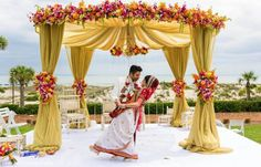 Beach wedding mandap. Occassions by Shangri la. #ritzcarlton #ameliaisland Florida. Destination Wedding Photographer Jacksonville