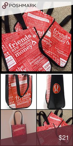 """4 Lululemen Small Totes🎁$3 Shipping‼️ Lululemon Athletica Small Tote Bags. Great condition!❤️ Strap drop: 9"""". Price is for 4 small Totes.    **Message me before buying & I'll discount the shipping!  •BUNDLES:  2 - 15% OFF!! •This item gets $3 SHIPPING‼️ 🚫TRADES, HOLDS or LOW OFFERS!  💟Instagram: FROSTINGJEWELRY lululemon athletica Bags Totes"""