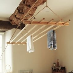 Clothes Dryer - This über-charming drying rack is on a pulley system, m. Clothes Dryer - This über-charming drying rack is on a pulley system, m. Laundry Rack, Laundry Drying, Laundry Room Storage, Laundry Room Design, Laundry Tips, Storage Closets, Diy Storage, Storage Shelves, Utility Room Storage