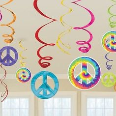 60's Groovy Hanging Swirls 1960 Party Decorations Peace Tie Die 1960's Adults