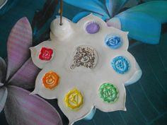 Chakra Lotus Incense Holder Incense Burner by BeBohemianPeach Diy Clay, Clay Crafts, Biscuit, Ceramics Projects, Incense Holder, Incense Burner, Air Dry Clay, Ceramic Clay, Cold Porcelain