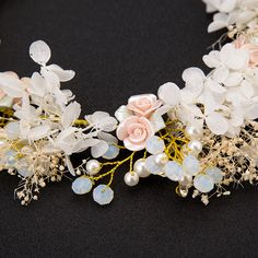 Handmade Luxury Wedding Hair Accessories Hair Jewelry Bridal Flower Headdress Pearl Beads Headpieces For Bride