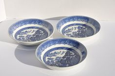 RARE  Three 3 Johnson Brothers Blue Willow by FinchAvenueVintage