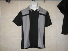 Mens shirt rockabilly bowling 2 panel gray by FiendishBoutique, $25.00