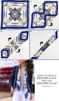 how to fold a square hermes silk scarf into long scarf
