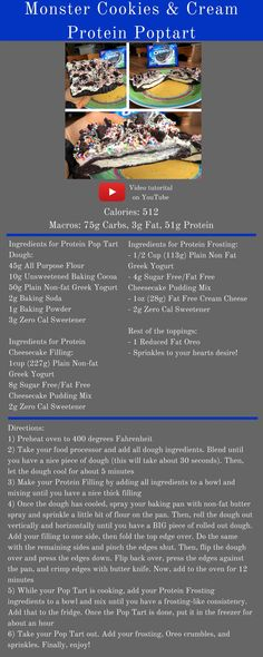 Macros for the WHOLE Protein Pop Tart: 512 Cals, Carbs, Fat, Protein Ingredients for Protein Pop Tart Dough: - All Purpose Flour - Unsweet. Protein Desserts, Healthy Protein, Protein Snacks, Healthy Dessert Recipes, Protein Recipes, Healthy Eats, Healthy Life, Healthy Snacks, Healthy Living
