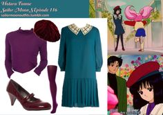 Like Sailor Moon Outfits on Facebook!  Requested by: hiddenfires  American Apparel sheer rib long sleeve turtleneck in Eggplant Betmar Nadia beret in Bordeaux ModCloth Make or Breakaway dress Barratts red mary jane mid heel court shoes Linea 140 denier soft touch tights in Purple