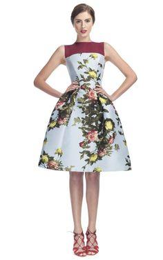 Carolina Herrera Rose Painting Jacquard Sleeveless Party Dress