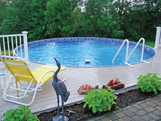 Even installed above ground, the Radiant Metric Round pool with a deck feels like waterfront property.
