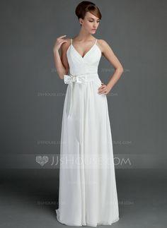 Forme Princesse Col V Longueur ras du sol Mousseline Robe de mariée avec Plissé Ceintures À ruban(s) (002001337) - JJsHouse