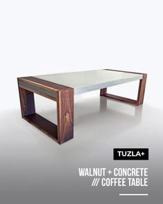 Minimal brutalist design for this extraordinary coffee table. Contemporary style with this combination of walnut and polished concrete. born to create timeless objects. Walnut Furniture, Concrete Furniture, Unique Furniture, Table Furniture, Contemporary Furniture, Furniture Design, Contemporary Style, Wooden Coffee Table Designs, Modern Coffee Tables