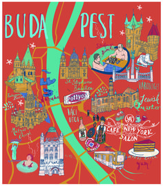Budapest map - Sia Tzavalas Illustration
