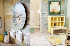 really cool mud room, reclaimed barn wood on the walls, reclaimed brick floor in herring bone pattern, lots of organization, fun art