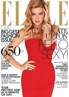 American Hot Sexy Model Kate Upton Photoshoot For Elle Fashion Magazine USA September Issue. Kate Upton Sexy in red off-shoulder gown on magazine cover Fashion Magazine Cover, Fashion Cover, Big Fashion, Fashion Shoot, Editorial Fashion, Magazine Covers, Elle Fashion, Hollywood Fashion, Hollywood Stars