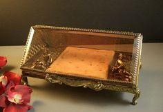 ELEGANT LARGE Beveled Glass Ormolu Jewelry Casket by Successionary, $279.99