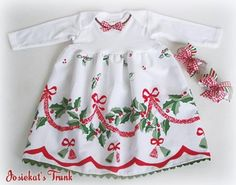 Infant Christmas Dress - Toddler Christmas Dress - Baby Holly Dress - Heirloom Christmas- Holly Days Babydoll Custom Newborn to 3T Stunning