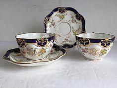 Pair COALPORT Porcelain His Hers Lobed Cup and Saucer Sets Monogram Cobalt Gilt