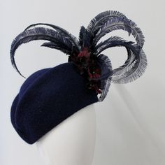 Items similar to Navy fur felt hat with vintage flowers and styled osterich feathers on Etsy Felt Hat, Vintage Flowers, Feather, Fur, Trending Outfits, Navy, Unique Jewelry, Handmade Gifts, Style