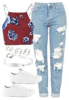 """""""Untitled #5174"""" by angela379 ❤ liked on Polyvore featuring Topshop, Converse and Forever 21"""