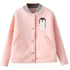 Chicnova Fashion Stand Collar Cartoon Print Jacket ($35) ❤ liked on Polyvore featuring outerwear, jackets, stand up collar jacket, comic book, cartoon jackets, pink jacket and standing collar jacket