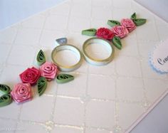 Paper Quilled Wedding, Anniversary Rings Card
